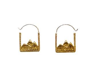 Earth Earrings, Mountain Earrings, Mountain Range, Peak Earrings, Square Earrings, Geometric Earrings, Statement Earrings, Small Hoops