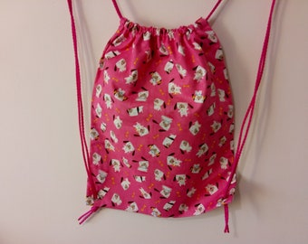 Pink Dog Print Drawstring Bag