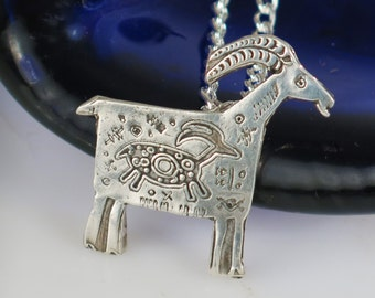 Native American Antelope Mt MaMa Fine Silver Pendant Gift - Mountain MaMa Fine Silver Pendant - Symbol of Gentleness, Love and Kindness Gift