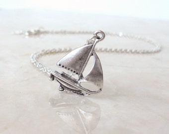 Sail Boat Necklace, Beach Wedding, Nautical Jewelry, Bridesmaid Jewelry, Ship Necklace