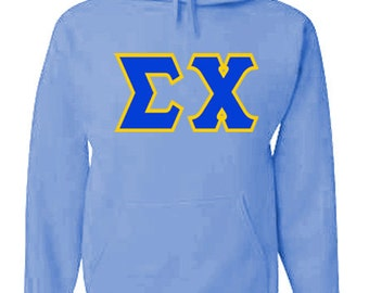 Sigma Chi Jumbo Twill Hooded Sweatshirt (Royal Blue/Light Gold)