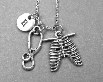 Stethoscope necklace, rib cage necklace, Stethoscope charm, nurse necklace, doctor necklace, personalized necklace, initial necklace