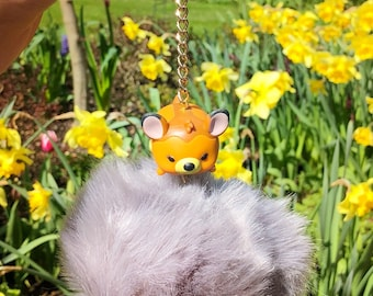 Baby Deer - Disney Inspired Faux Fur Grey Pom Pom Keyring / Keychain with Bambi Tsum Tsum