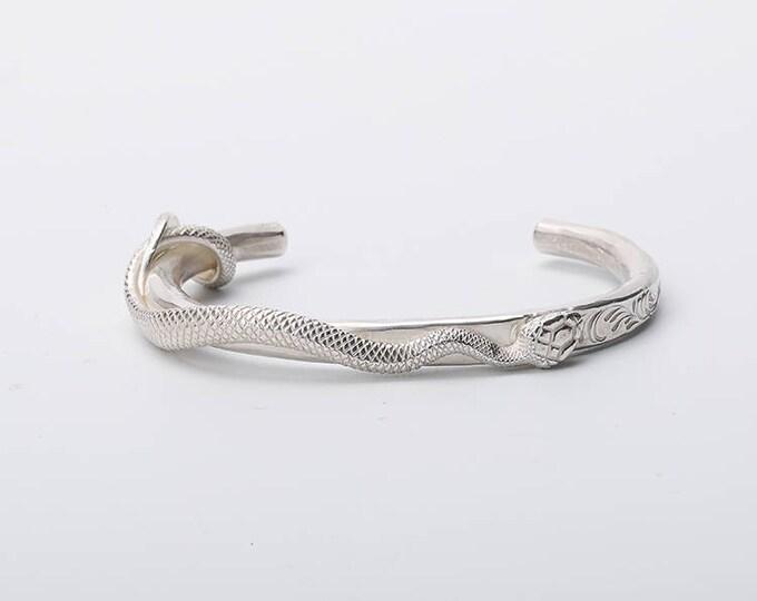 Silver Snake Bracelet | Snake Bangle | Women Snake Cuff | Silver Snake Jewelry | Serpent Bracelet |Snake Cuff Bracelet |Wild Animal Bracelet