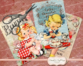 Instant Download Digital Printable Collage Sheet Retro Vintage Cute Kids Critters, Tags, Paper Goods, Scrapbooking, Backgrounds, decoration