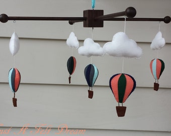 Hot air balloon baby mobile, Hot Air Balloon Nursery Decor, balloon baby mobile