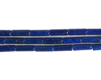 """13mm Dyed Blue Lapis Cylinder tube loose gemstone beads 16"""""""