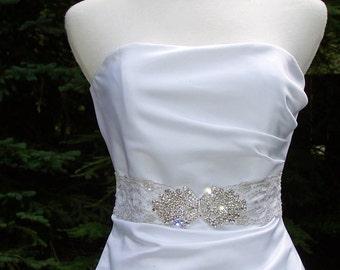 Haute Couture Large Rhinestone Bridal Belt-Choice of Fabric Belt-CRBoggs Original