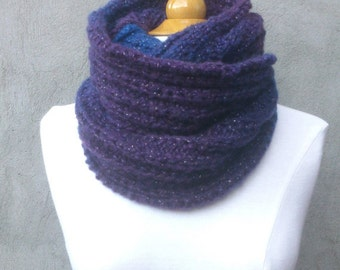 KNITTING PATTERN Ribbed infinity cowl, beginners knitting, knitting for beginners, easy knitting pattern, beginner knitting pattern