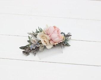 Blush pink pale blue flower comb Pastel floral headpiece Flower accessories Bridal hairpiece Bridesmaid comb Mint grey Hair flowers