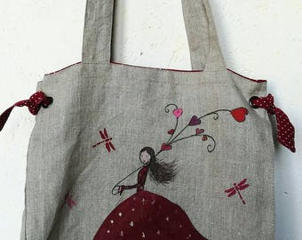 Beautiful quality linen-cotton lined tote bag, hand painted on both sides.