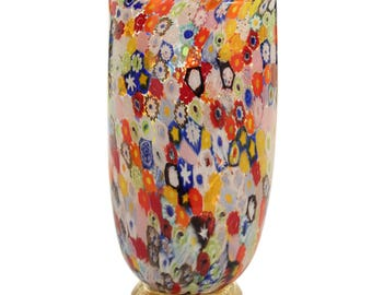 Artistic glass vase blown with Murrine and base in gold leaf, Murano glass vase with Millefiori Murrine and gold leaf base