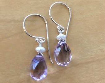 Pink Amethyst and Sterling Silver Laser Cut Drops