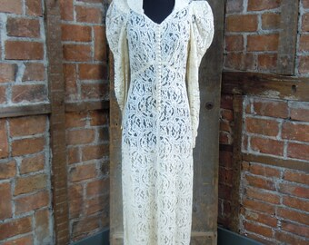 On Sale 1930's Wedding Gown/ Lace Wedding Gown Dress Button Front Lace Hollywood Glam 824