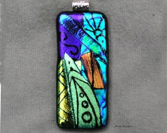 Kiln Fired Dichroic Glass Pendant #4