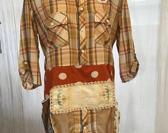 Funky upcycled cowboy shirt with many additions