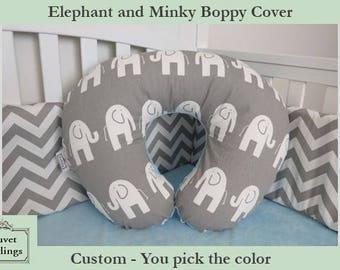 Elephant and Minky Boppy Cover - Boppy Pillow Cover, Minky Nursing Pillow