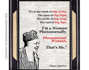 Maya Angelou Phenomenal Woman art print poster wall decor Quote on vintage dictionary book page African American History black red 8x10