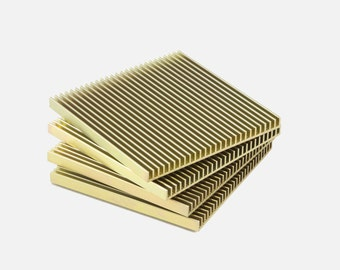 Gold Coasters, SAMPLE, Set of 4, Brass Coasters. Metal Coasters, Square Coasters, Anodized, Aluminum, Cool Gift, Gift for Dad, Modern Design