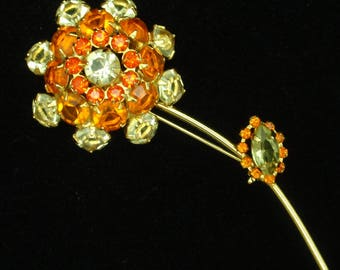 Flower Brooch Pin Orange and Yellow Rhinestones