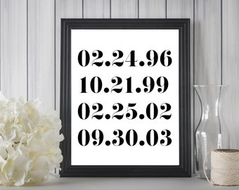 Special Dates Print/Numbers Art Print/Important Family Dates/Personalized Anniversary Gift /Special Dates/Custom Dates/Wedding Gift