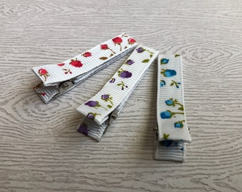 Floral lined hair clips-clippies-baby-infant-toddler-no slip-lined hair clips-blue-purple-red-ivory, baby girl gift