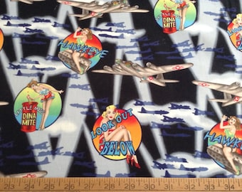Pin-up girls/airplanes cotton fabric by the yard