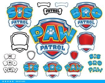 Paw Patrol clipart silhouette – Paw Patrol svg – Sis Patrol svg file – Bro Patrol svg – raster, vector files – svg, pdf, png, dxf, eps