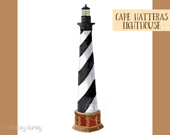 Cape Hatteras Lighthouse Clip Art, Beach clip art, hand painted clip art, North Carolina landmark
