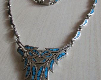 Mexican Sterling Silver Necklace with Turquoise and Black Inlay