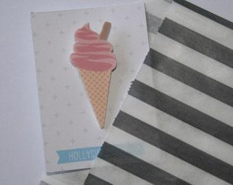 Ice Cream Brooch - Shrink Plastic Brooch