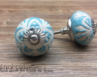 SET OF 2 - Aqua Blue Ceramic Knob with Natural Cream Etched Flowers - Light Blue Floral Drawer Pull Decorative Flower Knob - Cabinet