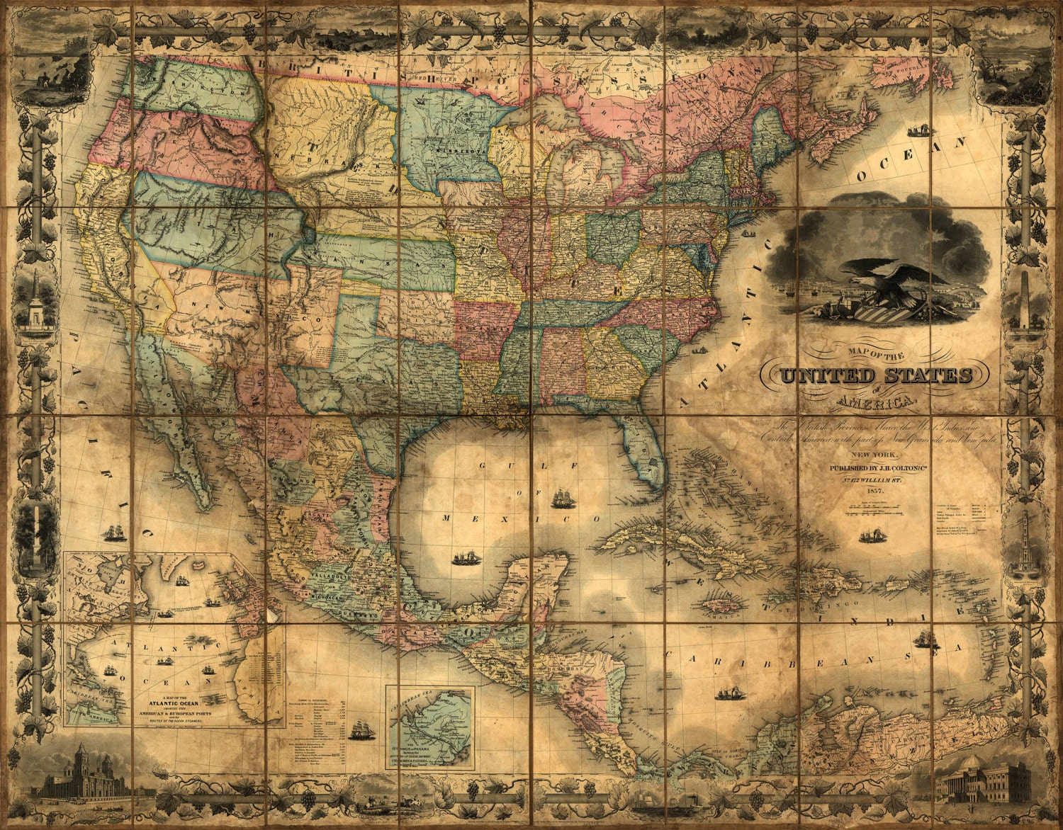 United States Map Vintage map Canvas large map Wall art map Map of America Vintage wall art USA vintage map USA Decor Antique map & United States Map Vintage map Canvas large map Wall art map Map ...