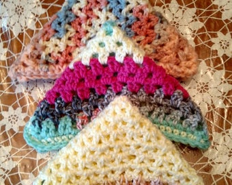 Hot Pink Yellow Blues Home Decor. Hand Crocheted Dish Cloths
