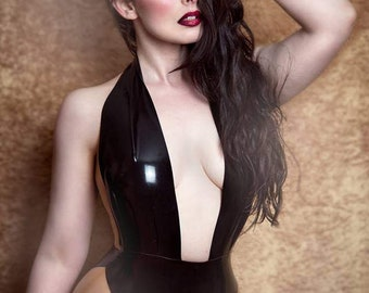Latex Elissa bodysuit in Black with Translucent Natural panels Lingerie