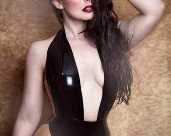 Latex Bodysuit Elissa in Black with Translucent Natural panels Lingerie