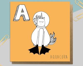 Aqua Unicorn Card