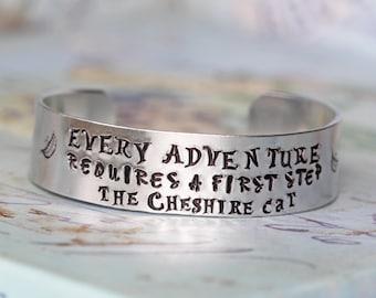 Alice in Wonderland Every Adventure Cuff Bracelet - Hand Stamped inspired jewelry quote bracelet - Alice in Wonderland Jewelry