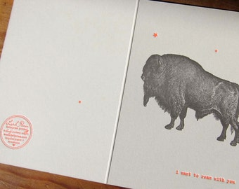 i want to roam with you letterpress valentines day greeting card with buffalo