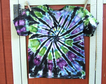 Youth Medium Tie Dye T-shirt - Ice Dyed - Mystic Swirl - Ready to Ship