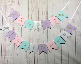Unicorn Birthday Banner, Unicorn Party Supplies, Pastel Party Decor, Happy Birthday Banner, Girl Unicorn Birthday, Gold Unicorn 1st Birthday