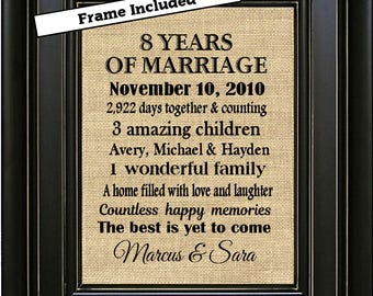 FRAMED 8th Wedding Anniversary Gift/8th Anniversary Gifts/8 years of Marriage/Gift for Wife/Gift for Husband/Bronze Anniversary Gifts