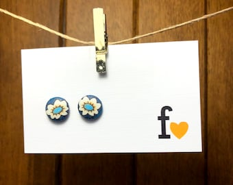 Fabric button stud earrings | 12mm | Forest daisy