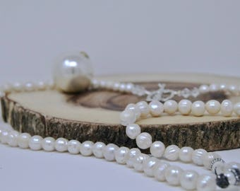 Shell Pearl Rope Necklace. Pearl Rope.Long Pearl Necklace.