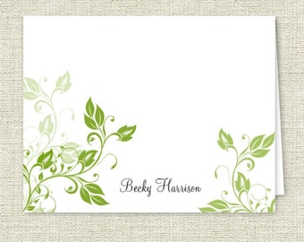 Ivy Vines Personalized Note Cards - Set of 10 - Thank You - Personalized Stationery