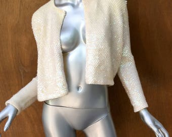 White vintage cropped sequin jacket, formal, cocktail, cardigan, bolero, shimmer, authentic, shrug size 4, 50's, boho chic, wedding