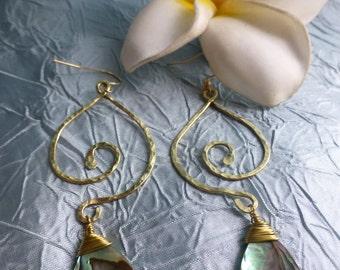 Hawaiian Inspired Earrings,Abalone, Paua Shell