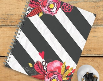 Floral Stripe Open Dated 9x11 Daily Weekly Monthly Planner