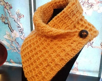 Bright Yellow One-Button Cowl