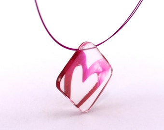 Pink Valentine Heart Necklace, Handmade Perspex Pendant